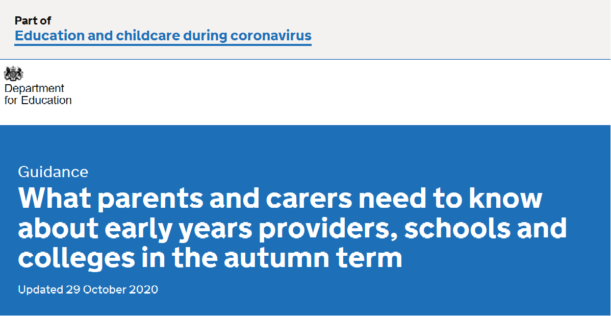 What parents and carers need to know about early years providers, schools and colleges in the autumn term